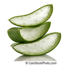 A stack of freshly sliced Aloe Vera on white background