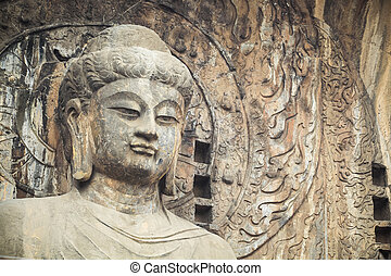 closeup of the locana buddha in longmen grottoes,China