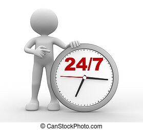"24/7 - 3d people - man, person with a clock and text "" 24/7..."