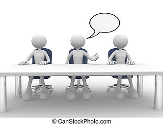 Meeting - 3d people - men, person at conference table...