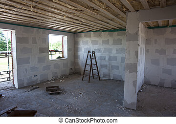 Inside a house in construction