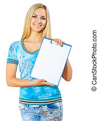 a young woman holding clipboard