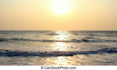 Evening scene with sunset on sea