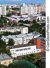 above view of residential block in Moscow