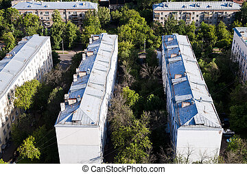 urban old houses in Moscow - above view on old municipal...