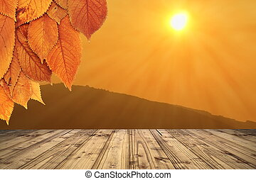 autumn backdrop with wooden terrace