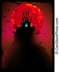 Scary halloween vector with magical abbey EPS 10 vector file...
