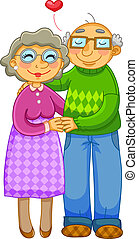 old couple - loving old couple hugging happily