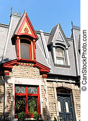Colorful victorian houses in Montreal, Canada - Colorful...