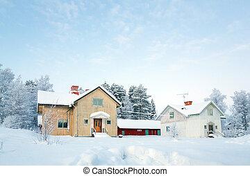 Winter landscape Sweden - Winter landscape with house at...