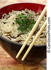 Bowl of rice - Closeup of bowl of white and wild rice