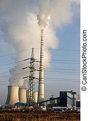 carbón, planta, potencia