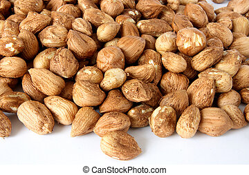 Hazelnuts - Many shellless hazelnuts scattered on white