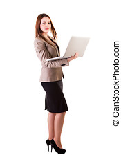 businesswoman with a laptop in hands isolated on white background studio shot