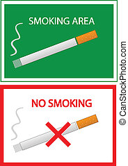 no smoking and smoking area color vector illustration