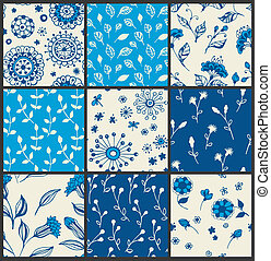 Floral patterns - Set of 9 floral patterns