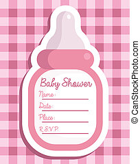 Pink Baby Bottle Invitation