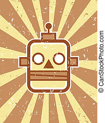 Retro Robot - Vector retro robot head illustration on grunge...