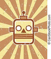 Retro Robot - Vector retro robot head illustration on grunge...