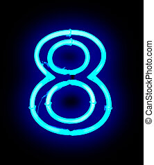 Neon light number 8 isolated on black background