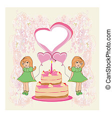 birthday invitation,girl holding balloons and a birthday cake with candles