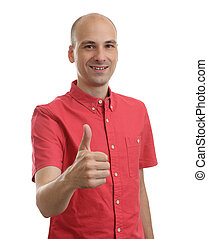 Happy man giving thumbs up sign. Isolated on white...