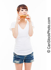 Young Asian woman eat sandwhich. - Young Asian woman eat...