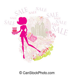 abstract fashion girl Shopping - summer Sale