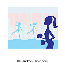 women exercising in gym