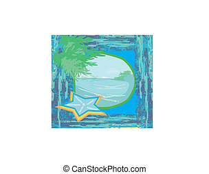Tropical beach landscape - abstract grunge background