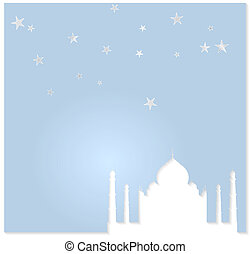 Taj Mahal vector background Cuted paper