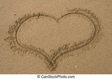 Love heart in the sand - Love heart drawn in the sand.