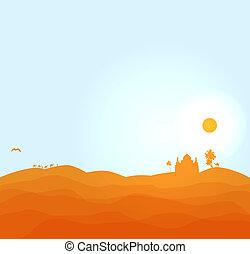 Vectro desert illustration. 1001 nights desert