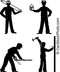 set builders outline vector