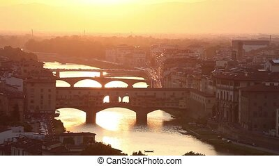 Bridges of Florence at sunset - Bridges of Florence over the...