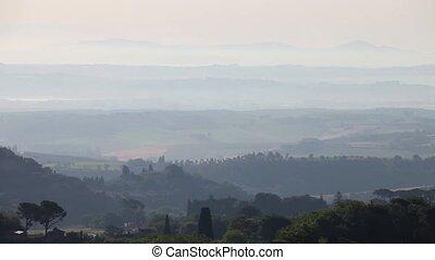 Tuscany Landscape - Morning mist, Montepulciano, Tuscany,...