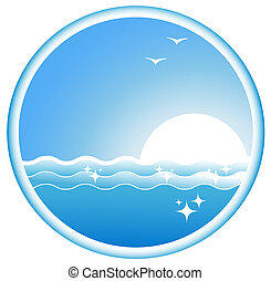 icon with sea wave, sun and seagull - blue icon with sea...