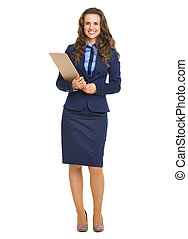 Full length portrait of happy business woman with clipboard