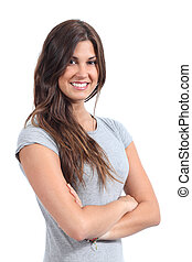 Attractive woman posing isolated on a white background