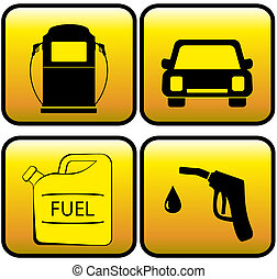 icons - jerry can, car and close up - set glossy icons -...