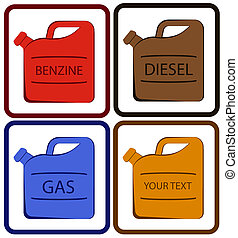 jerry can with place for text - set colorful jerry can with...