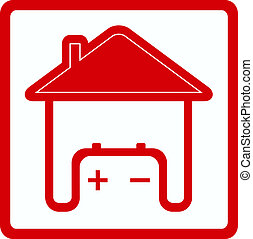 sign house with battery in home - red sign house with...