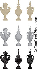 Urns 2 - set of classic stone urns
