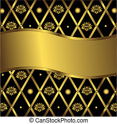 Geometric background vector - Black and golden geometric...
