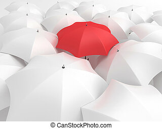 Red umbrella - One red umbrella among set of other white