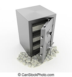 Bank safe with money - Bank safe 3d illustration of open...