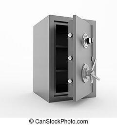 Bank safe. 3d illustration of open steel safe over white...