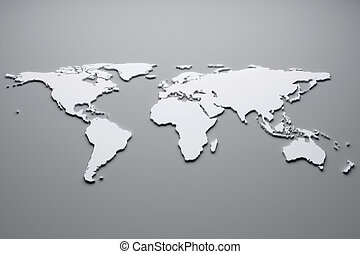 World map - White world map. 3d illustration.