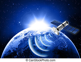 blue planet earth and satellite in