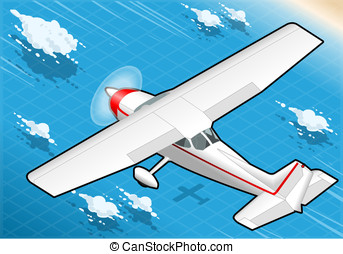 Isometric White Plane in Flight in Rear View
